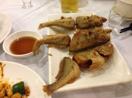 Delicious fried fish, bones and all