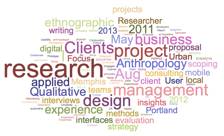 using a resume and a word cloud to visualize professional growth