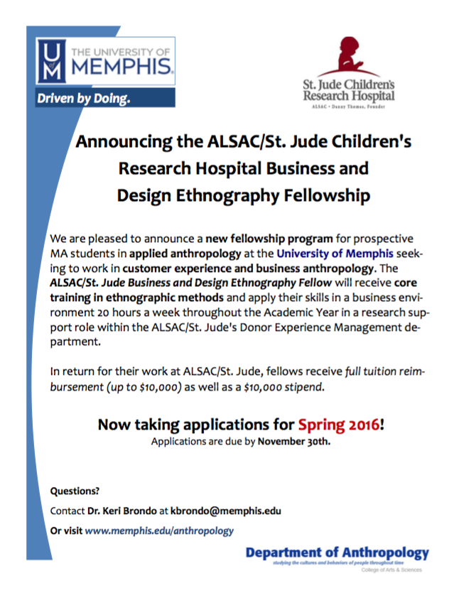 University of Memphis/ALSAC/St. Jude Children's Research Hospital Business and Design Ethnography Fellowship